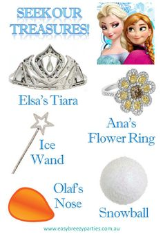 Treasure hunt 'find me' card for a Frozen themed kids party - including party favour rings and wands, paper cut-out noses and tiaras, plus cotton wool snow balls.  (Easy Breezy Parties offers 'Frozen' party packages in Melbourne, Australia. Find out more: http://easybreezyparties.com.au/party-packages/disneys-frozen-party.html) #frozen #easybreezyparties