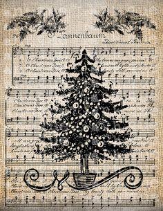 Antiguo árbol de Navidad vacaciones canción Digital descargar música para Papercrafts, transferencia, almohadas, etc. arpillera Nº 3903