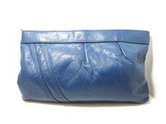 Royal Blue Vintage Leather zipper clutch by MissLizzyD on Etsy, $13.00