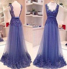 Custom Blue Prom Dress, Tulle Prom Dresses,Lace Prom Dress, Tulle Prom Dress,cheap Prom Gowns, Prom Dress Long, Formal Evening Dress, Graduation Dress, Party Dress