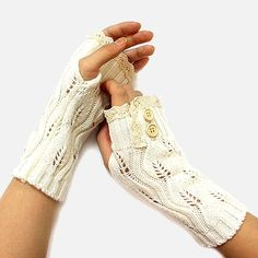 White Beige Lace Trim Button Accent Knit  Fingerless Thumbhole Arm Warmer Gloves. Get the lowest price on White Beige Lace Trim Button Accent Knit  Fingerless Thumbhole Arm Warmer Gloves and other fabulous designer clothing and accessories! Shop Tradesy now