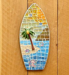 Fun, handmade mosaic surfboard.