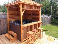 Hot Tub Enclosures for Winter - Everyone loves hot tubs! Here's how to enclose them! Informations About Hot Tub Enclosures for Win - Hot Tub Gazebo, Hot Tub Backyard, Hot Tub Garden, Garden Gazebo, Backyard Pergola, Pergola Kits, Backyard Landscaping, Pergola Roof, Diy Gazebo
