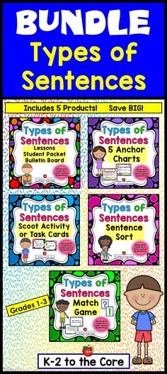 Here's everything you need to teach about the four kinds of sentences (Declarative, Imperative, Interrogative, and Exclamatory) as well as what a complete sentence is and what the two parts of a sentence are. In this comprehensive bundle, I've included a wide variety of activities, games, and materials that will engage your students and provide them with enjoyable practice in punctuating and identifying the different kinds of sentences.