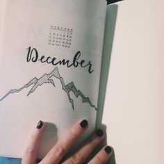Bullet journal monthly cover page, December cover page, mountain drawing. @masonjars