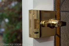 A polished brass Banham lock adds some extra class to this door as well as further security alongside the thick door. Wood Front Doors, Side Window, Front Entrances, Polished Brass, Door Handles, Windows, Frame, Home Decor, Wooden Front Doors
