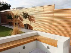Sitting on the fence when it comes to deciding if Cedar Fencing is for you? Here you can find our previous bits of work in our Gallery. Modern Fence Panels, Slatted Fence Panels, Modern Fence Design, Garden Fence Panels, Garden Fencing, Contemporary Fencing, Contemporary Garden Design, Contemporary Architecture, Modern Driveway