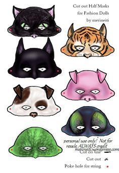 halloween masks for dolls, animal masks, cat mask, bat mask dog, pig, tiger, fly, lizard. Free printables!