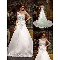 Lanting+Bride+A-line+Petite+/+Plus+Sizes+Wedding+Dress-Chapel+Train+Sweetheart+Lace+/+Satin+–+USD+$+229.99