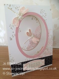 hand crafed card from Jo-Jo's Crafty Blog ... oval window card ... collage stamping ... dragonflies ... pink and taupe on white ... beautiful! ... Stampin' Up!