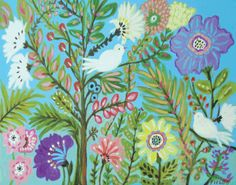 Birds Flowers Nursery Art Mystery Garden  by karenfieldsgallery, $24.00