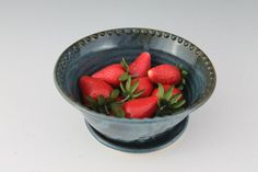 Blue Berry Bowl / Handmade Pottery Colander / by NewDayPottery.