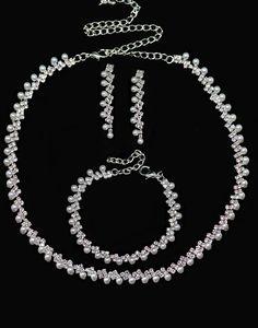 Set bijuterii mireasa cu perle si cristale M589