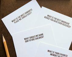 DIY Wedding Reception Conversational Questions Starters Cards Guest Book