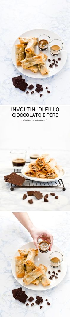 CHOCOLATE AND PEAR SPRING ROLLS - INVOLTINI PASTA FILLO CIOCCOLATO PERE - INVOLTINI CIOCCOLATO - CHOCOLATE SPRING ROLLS - valentine's day - SAN VALENTINO - FOOD PHOTOGRAPHY