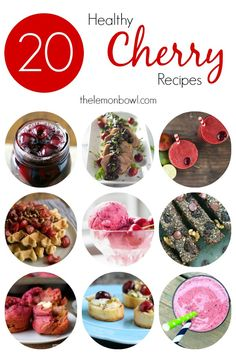 20 Healthy Cherry Recipes - Breakfast, lunch, dinner or dessert – celebrate the season with these fresh and healthy cherry recipes! Low Calorie Recipes, Easy Healthy Recipes, Easy Dinner Recipes, Healthy Sweets, Easy Dinners, Summer Recipes, Healthy Choices, Delicious Recipes, Dinner Ideas