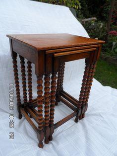 solid oak , bobbin turned set of card tables