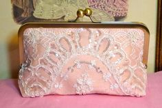 Bridal Clutch Blush Pink with Beading and Sequined by BelleJouJou