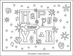 New Years coloring pages - New Years Eve coloring sheets