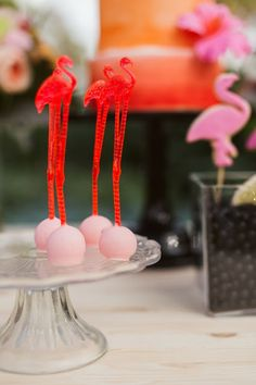 The Little Big Company the blog: A Palm Springs Party by Studio Cake and Cheer Co. Flamingo Cake pops