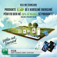 Blej me Starcard produkte A+ që e kursejnë energjinë, përfito deri në 20% te vlerës se produktit.  http://youtu.be/7Jc18jeRekY  #TEB #TEBbank #BankaTEB #TEBKosova #green #loan #greenloan #starcard