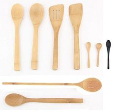 8 Piece Bamboo Cooking Utensil Set 4 Spoons 2 Turners and 2 Mini Spoons -- Read more reviews of the product by visiting the link on the image.Note:It is affiliate link to Amazon.