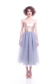 50′ tulle + leather dress #Romanian #designers