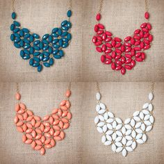 Tessellate Necklaces. Royal Blue, Ruby, Coral & White. Only $14.95 each #jewelry #fashion #accessories #urbanpeachboutique