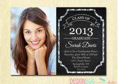 Chalkboard Graduation Announcement Invitation   by DesignBugStudio, $15.00