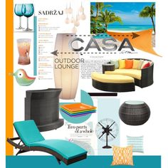 Outdoor Lounge With Casa.com by judysingley-polyvore on Polyvore featuring interior, interiors, interior design, home, home decor, interior decorating, Zuo Modern, Home Essentials, Zak! Designs and Alessi