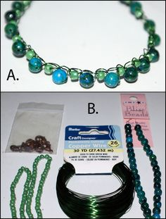 Wire and Bead Crochet Necklace Patterns: Wire Crochet Necklace With Jasper Stone Beads