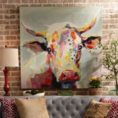 Betsy Cow Canvas Art Print | Kirklands Inspiration - I have a cow painting that my dad rescued from a dumpster for me and it is cute but doesn't go so well with my decor.  I wonder if I can make some cool pop art out of it...