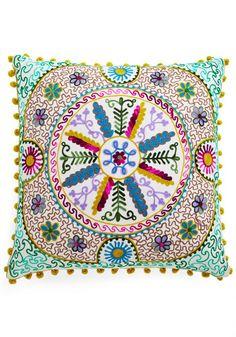 Bo-Homey Pillow by Karma Living - Woven, Multi, Boho, Dorm Decor, Better, Print, Embroidery, Poms, Folk Art