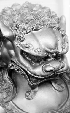 Fu Dog Foo Dog Art Black and White Asian Art China Japan Asia