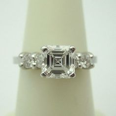Diamond 5 Stone Engagement Ring with 1.41 ctw Asscher & Round.  Love the symbolism of 5 diamonds.