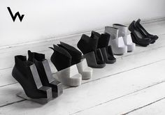 The objective of the project is a deconstruction not only of the form of shoes, but also of the way of thinking about shoes. The designer presents footwear as a sculpture able to serve practical purposes. The Japan aesthetics of a search for beauty in imperfection – wabi-sabi – provided an inspiration for the projects.