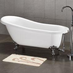 Badekar m/løveføtter og overløp/push-up ventil