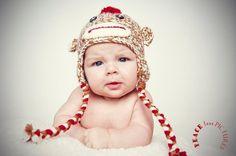sock monkey hat neutral by lavenderily on Etsy, $23.00