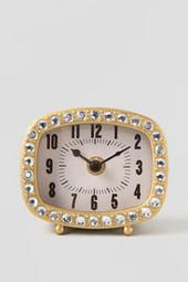 Mini Gold Clock with Crystals DIY a studded alarm clock for dorm