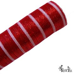 "Grand Peppermint Deluxe Metallic Foil Mesh Size: 20"" in width; 10 yards in length: Color: Red with thin white stripe Deluxe metallic style all foil poly mesh"