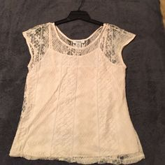 Pinky Cream lace top with cami Pinky brand Cream colored lace top with cami. Great for summer parties. Looks great with jeans, capris, shirts or skirts. Goes with pretty much anything.  Worn once. Pinky Tops Blouses