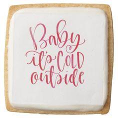 Trendy Red & White Watercolor Script Xmas Square Shortbread Cookie - decor gifts diy home & living cyo giftidea