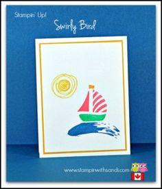 Stampin Up Swirly Bird Sailboats in Pink card by Sandi @ www.stampinwithsandi.com