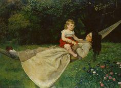 Hans Thoma(1839-1924)「In the Hammock」