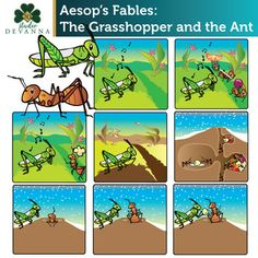 This 20 piece clip art set illustrates the story of the Grasshopper and the Ant from Aesop's Fables. The Story: A grasshopper spent the summer singing in a field. Along passed a line of ants carrying food. English Moral Stories, English Stories For Kids, Children Stories, Grasshopper Pictures, Picture Story For Kids, Free Educational Apps, Lion And The Mouse, English Lesson Plans, Child Teaching