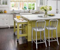 Pull - Out Kitchen Storage Options for Small Spaces - here a pull-out extension was added to the island for those times when you need additional workspace. This is an excellent post with clever ways to utilize every inch of space in the kitchen - BHG