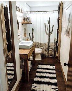 Home Interior Salas brown Bathroom Decor Southwestern desert theme bathroom decor Western Bathroom Decor, Western Bathrooms, Brown Bathroom Decor, Grey Bathrooms, Bathroom Styling, Small Bathroom, Bathroom Ideas, Bathroom Renovations, Shower Ideas