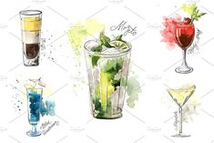 15 watercolor cocktails sketches by Lemaris on Watercolor Food, Watercolor Sketch, Watercolor Illustration, Graphic Illustration, Watercolor Paintings, Most Popular Cocktails, Cocktail Illustration, Stock Imagery, Tolu
