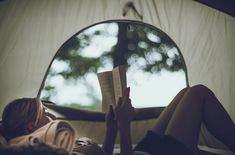 This would be the perfect vacay! Nowhere to be, camping, and reading a good book.