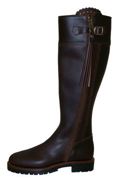 Wide Calf Traditional Spanish Boots in Brown